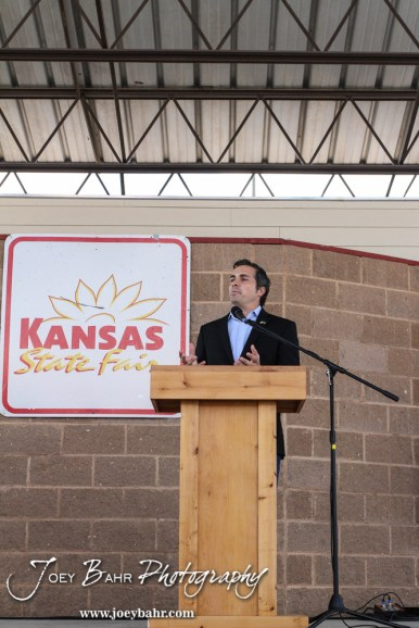Greg Orman responds to a question during the WIBW 2014 Kansas State Fair Senate debate between United States Senator Pat Roberts and Greg Orman at Bretz-Young Injury Lawyers Arena on the Kansas State Fairgrounds in Hutchinson, Kansas on September 6, 2014. (Photo: Joey Bahr, www.joeybahr.com)