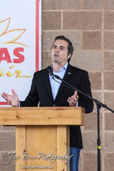 Greg Orman speaks during the WIBW 2014 Kansas State Fair Senate debate between United States Senator Pat Roberts and Greg Orman at Bretz-Young Injury Lawyers Arena on the Kansas State Fairgrounds in Hutchinson, Kansas on September 6, 2014. (Photo: Joey Bahr, www.joeybahr.com)