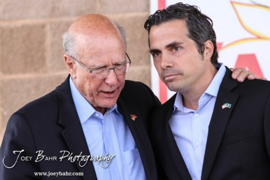 United States Senator Pat Roberts and Greg Orman embrace following the WIBW 2014 Kansas State Fair Senate debate between United States Senator Pat Roberts and Greg Orman at Bretz-Young Injury Lawyers Arena on the Kansas State Fairgrounds in Hutchinson, Kansas on September 6, 2014. (Photo: Joey Bahr, www.joeybahr.com)