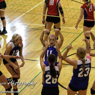 The Ness City Lady Eagles celebrate scoring a point during the 2014 Central Prairie League Volleyball Tournament at Hoisington Activity Center in Hoisington, Kansas on October 18, 2014. (Photo: Joey Bahr, www.joeybahr.com)