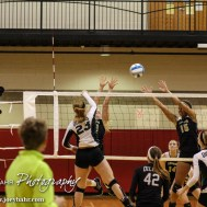 Central Plains Lady Oiler Kylee Kasselman (#23) goes for a kill during the 2014 Central Prairie League Volleyball Tournament at Hoisington Activity Center in Hoisington, Kansas on October 18, 2014. (Photo: Joey Bahr, www.joeybahr.com)