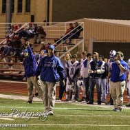 The Lyons Lion coaches call out the next play during the Hoisington Cardinals versus Lyons Lions High School Football game with Hoisington winning 54 to 13 at Elton Brown Field at Hoisington High School in Hoisington, Kansas on October 30, 2014. (Photo: Joey Bahr, www.joeybahr.com)