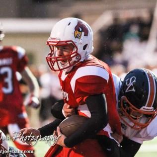 Hoisington Cardinal Tyler Specht (#1) scores a touchdown during the Hoisington High School versus Smoky Valley football game with Hoisington winning 33 to 12 at Eldon Brown Field in Hoisington, Kansas on October 10, 2014. (Photo: Joey Bahr, www.joeybahr.com)
