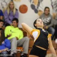 Ellis Lady Railer Stephanie Greenway (#5) goes up for a kill during the Otis-Bison/LaCrosse Volleyball Tournament Pool Play at Otis-Bison High School in Otis, Kansas on September 13, 2014. (Photo: Joey Bahr, www.joeybahr.com)