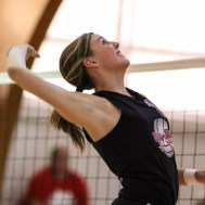 Otis-Bison Lady Cougar Taylor Regan (#10) goes up for a kill during the Otis-Bison High School versus Macksville volleyball game at Otis-Bison High School in Otis, Kansas on October 7, 2014. (Photo: Joey Bahr, www.joeybahr.com)