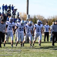 The Spearville Lancer Captains walk to mid-field during the KSHSAA Eight Man Division I Regional Football game between Spearville and Central Plains with Central Plains winning 42 to 40 at Central Plains High School in Claflin, Kansas on November 8, 2014. (Photo: Joey Bahr, www.joeybahr.com)