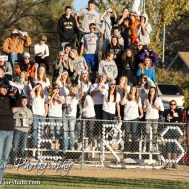 The Central Plains Oilers Student Section cheers on their players during the KSHSAA Eight Man Division I Regional Football game between Spearville and Central Plains with Central Plains winning 42 to 40 at Central Plains High School in Claflin, Kansas on November 8, 2014. (Photo: Joey Bahr, www.joeybahr.com)