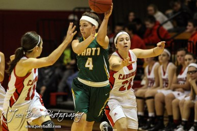 Pratt Lady Greenback Brooklynn Bourgeois (#4) passes the ball during the Pratt Lady Greenbacks at Hoisington Lady Cardinals Girls Basketball game with Pratt winning 34 to 23 at Hoisington Activity Center in Hoisington, Kansas on January 6, 2015. (Photo: Joey Bahr, www.joeybahr.com)