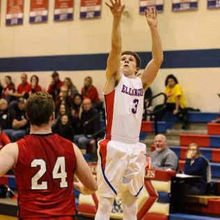 Ellinwood Eagle Kaleb Schartz (#3) shoots a three pointer during the 2A Sub-State First Round Game with the Ellinwood Eagles vs the Ell-Saline Cardinals with Ellinwood winning 59 to 37 at Ellinwood High School in Ellinwood, Kansas on March 2, 2015. (Photo: Joey Bahr, www.joeybahr.com)