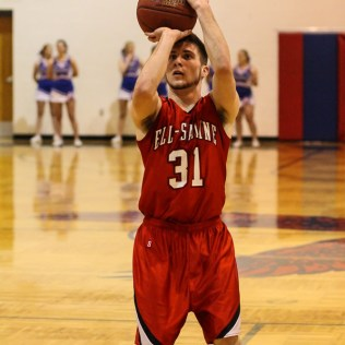 Ell-Saline Cardinal Cody Walters (#31) shoots a free throw during the 2A Sub-State First Round Game with the Ellinwood Eagles vs the Ell-Saline Cardinals with Ellinwood winning 59 to 37 at Ellinwood High School in Ellinwood, Kansas on March 2, 2015. (Photo: Joey Bahr, www.joeybahr.com)