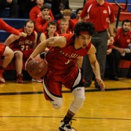 Ell-Saline Cardinal Luiz Antonio Arceo (#1) drives towards the basket during the 2A Sub-State First Round Game with the Ellinwood Eagles vs the Ell-Saline Cardinals with Ellinwood winning 59 to 37 at Ellinwood High School in Ellinwood, Kansas on March 2, 2015. (Photo: Joey Bahr, www.joeybahr.com)