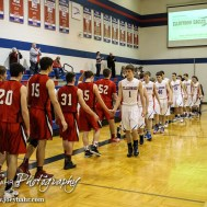 Members of the Ellinwood Eagles and Ell-Saline Cardinals shake hands following the 2A Sub-State First Round Game with the Ellinwood Eagles vs the Ell-Saline Cardinals with Ellinwood winning 59 to 37 at Ellinwood High School in Ellinwood, Kansas on March 2, 2015. (Photo: Joey Bahr, www.joeybahr.com)