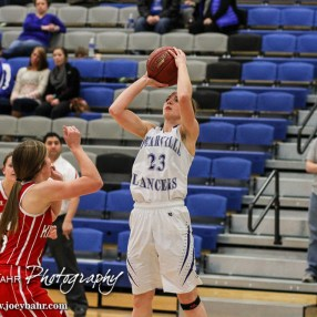 Spearville Lady Lancer Cody Offerle (#23) shoots the ball during the 2A Sub-State First Round Game with the Spearville Lady Lancers vs the Kinsley Lady Coyotes with Spearville winning 66 to 53 at Spearville High School in Spearville, Kansas on March 3, 2015. (Photo: Joey Bahr, www.joeybahr.com)