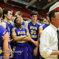 during the KSHSAA Class 3A Boys State Tournament Semi-Final wth the Wichita Collegiate Spartans and the Sabetha Bluejays