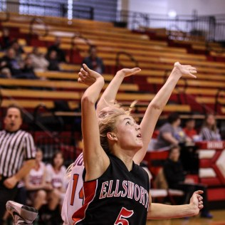 Ellsworth Lady Bearcat Paige Talbott (#5) watches her shot go to the basket during the 2016 Hoisington Winter Jam Girls Fifth Place Basketball game between the Otis-Bison Lady Cougars and the Ellsworth Lady Bearcats with Otis-Bison winning 46 to 40 of Hoisington Activity Center in Hoisington, Kansas on January 23, 2016. (Photo: Joey Bahr, www.joeybahr.com)