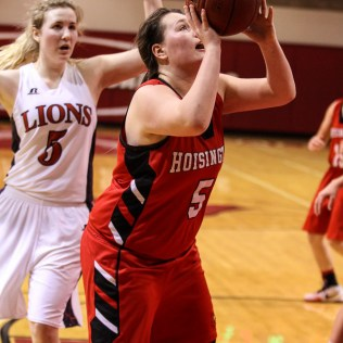 Hoisington Lady Cardinal Jocelynn Pedigo (#5) shoots a layup during the 2016 Hoisington Winter Jam Girls Thrid Place Basketball game between the Hoisington Lady Cardinals and the Minneapolis Lady Lions with Hoisington winning 48 to 43 of Hoisington Activity Center in Hoisington, Kansas on January 23, 2016. (Photo: Joey Bahr, www.joeybahr.com)