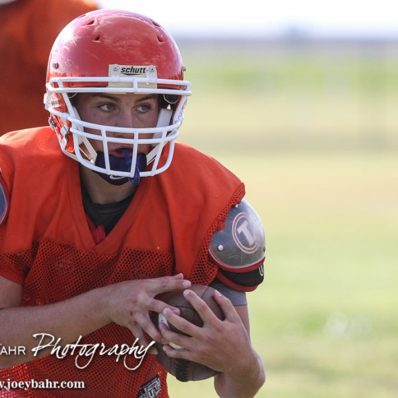 During a pre-season practice for the Otis-Bison Cougar Football team at Otis-Bison High School in Otis, Kansas on August 19, 2015. (Photo: Joey Bahr, www.joeybahr.com)