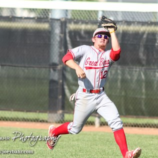 Great Bend Chief Payton Mauler (#12) catches a fly ball for an out in the bottom of the Fourth Inning. The Great Bend Chiefs won the AAA Lower Zone 1 & 2 Tournament by defeating the Garden City Elite 10 to 4 at Great Bend Sports Complex in Great Bend, Kansas on July 18, 2016. (Photo: Joey Bahr, www.joeybahr.com)