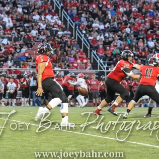Great Bend Panther Jacob Murray (#7) punts the ball. The Great Bend Panthers defeated the Dodge City Demons 34 to 27 at Memorial Stadium in Great Bend, Kansas on September 23, 2016. (Photo: Joey Bahr, www.joeybahr.com)
