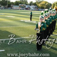 Members of the Pratt High School Marching Band line up for their team to take the field. The Hoisington Cardinals defeated the Pratt Greenbacks 32 to 14 at Zerger Field in Pratt, Kansas on September 30, 2016. (Photo: Joey Bahr, www.joeybahr.com)