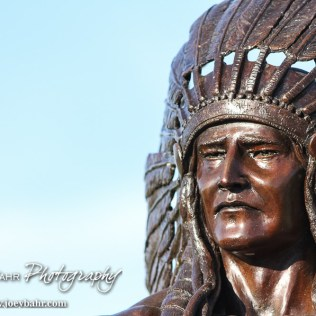 A close up view of the new Indian statue at the Larned Football field. The Pratt Greenbacks win 31 to 16 over the Larned Indians at Earl Roberts Field in Larned, Kansas on September 2, 2016. (Photo: Joey Bahr, www.joeybahr.com)
