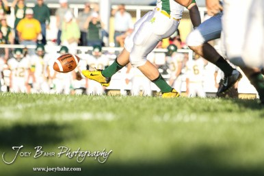 The Pratt Greenbacks kick off the ball to start the game. The Pratt Greenbacks win 31 to 16 over the Larned Indians at Earl Roberts Field in Larned, Kansas on September 2, 2016. (Photo: Joey Bahr, www.joeybahr.com)