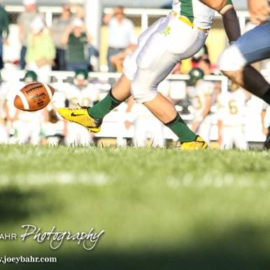 The Pratt Greenbacks kick off the ball to start the game. The Pratt Greenbacks win 31 to 16 over the Larned Indians at Earl Roberts Field in Larned, Kansas on September 2, 2016. (Photo: Joey Bahr, www.joeybahr.com)