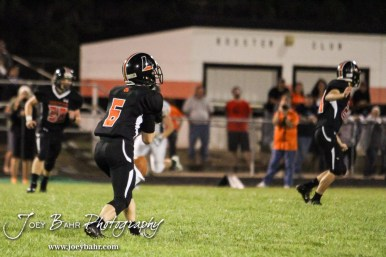 Larned Indian Josh East (#6) misses catching a punt. The Pratt Greenbacks win 31 to 16 over the Larned Indians at Earl Roberts Field in Larned, Kansas on September 2, 2016. (Photo: Joey Bahr, www.joeybahr.com)