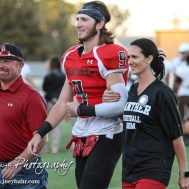 Great Bend Panther Brayden Smith (#9) is introduced along with his parents during the Parents Night Ceremony before the game. The Garden City Buffaloes defeated the Great Bend Panthers 21 to 14 in Overtime to win the Western Athletic Conference title at Memorial Stadium in Great Bend, Kansas on October 21, 2016. (Photo: Joey Bahr, www.joeybahr.com)