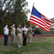 A VFW Color Guard presents the colors for the National Anthem. The Hoisington Cardinals defeated the Ellsworth Bearcats 39 to 20 at Shanelac Field in Ellsworth, Kansas on October 14, 2016. (Photo: Joey Bahr, www.joeybahr.com)