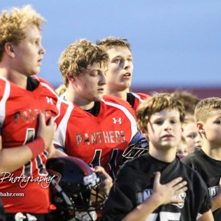 Members of the Great Bend Fourth through Sixth Grade PKFL teams join the Panthers for the National Anthem. The Great Bend Panthers defeated the Topeka West Chargers 70 to 31 in a KSHSAA Class 5A First Round matchup. at Memorial Stadium in Great Bend, Kansas on October 28, 2016. (Photo: Joey Bahr, www.joeybahr.com)