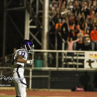 Topeka West Charger Chris Ellis (#13) groves to the Great Bend Student Section chants to pump up for the upcoming kick off. The Great Bend Panthers defeated the Topeka West Chargers 70 to 31 in a KSHSAA Class 5A First Round matchup. at Memorial Stadium in Great Bend, Kansas on October 28, 2016. (Photo: Joey Bahr, www.joeybahr.com)