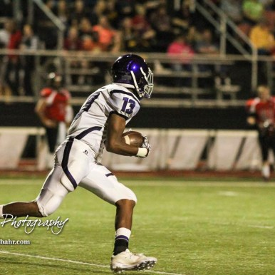 Topeka West Charger Chris Ellis (#13) carries the ball up the field. The Great Bend Panthers defeated the Topeka West Chargers 70 to 31 in a KSHSAA Class 5A First Round matchup. at Memorial Stadium in Great Bend, Kansas on October 28, 2016. (Photo: Joey Bahr, www.joeybahr.com)