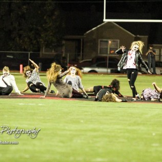 The Great Bend Panther Dance Line perform's to Michael Jackson's Thriller during Halftime. The Great Bend Panthers defeated the Topeka West Chargers 70 to 31 in a KSHSAA Class 5A First Round matchup. at Memorial Stadium in Great Bend, Kansas on October 28, 2016. (Photo: Joey Bahr, www.joeybahr.com)