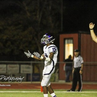 Topeka West Charger Chris Ellis (#13) tries to pump himself up for the start of the Second Half. The Great Bend Panthers defeated the Topeka West Chargers 70 to 31 in a KSHSAA Class 5A First Round matchup. at Memorial Stadium in Great Bend, Kansas on October 28, 2016. (Photo: Joey Bahr, www.joeybahr.com)