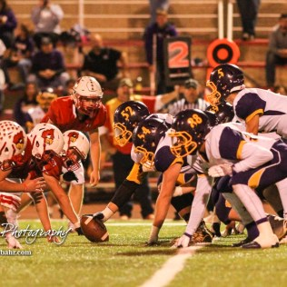 The Lakin Bronc line gets set to start the next play. The Hoisington Cardinals defeated the Lakin Broncs in the KSHSAA Class 3A Bi-District game with a score of 56 to 13 at Elton Brown Field in Hoisington, Kansas on November 1, 2016. (Photo: Joey Bahr, www.joeybahr.com)