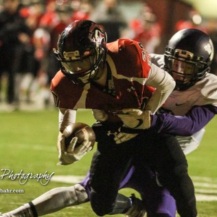 Valley Center Hornet Keyon Saunders (#2) tries to keep Great Bend Panther Bryce Lytle (#20) out of the end zone. The Great Bend Panthers defeated the Valley Center Hornets to win the KSHSAA Class 5A Sectional by a score of 28 to 24 at Memorial Field in Great Bend, Kansas on November 11, 2016. (Photo: Joey Bahr, www.joeybahr.com)