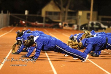 Cheerleaders from Goddard do pushups after the team scored a touchdown. The Goddard Lions defeated the Great Bend Panthers to win the KSHSAA Class 5A Sub-State Championship by a score of 50 to 21 at Memorial Field in Great Bend, Kansas on November 18, 2016. (Photo: Joey Bahr, www.joeybahr.com)