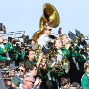 The Pratt High School Marching Band performs prior to the game from the stands. The Pratt Greenbacks defeated the Hayden Wildcats 48 to 14 to win the KSHSAA Class 4A Division II State Championship Game at Salina Stadium in Salina, Kansas on November 26, 2016. (Photo: Joey Bahr, www.joeybahr.com)
