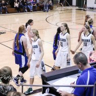 Members of the Central Plains Lady Oilers and St. John Lady Tigers shake hands following the game. The Central Plains Lady Oilers defeated the St. John Lady Tigers by a score of 87 to 41 at Central Plains High School in Claflin, Kansas on December 13, 2016. (Photo: Joey Bahr, www.joeybahr.com)