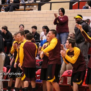 The Hays Indian bench celebrates a made three point shot. The Hays Indians defeated the Great Bend Panthers by a score of 51 to 37 at Great Bend High School in Great Bend, Kansas on January 10, 2017. (Photo: Joey Bahr, www.joeybahr.com)