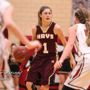 Hays Lady Indian #1 Talyn Kleweno looks for a teammate to pass the ball to. The Great Bend Lady Panthers defeated the Hays Lady Indians by a score of 54 to 41 at Great Bend High School in Great Bend, Kansas on January 10, 2017. (Photo: Joey Bahr, www.joeybahr.com)