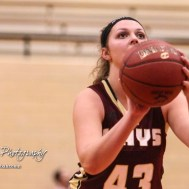 Hays Lady Indian #43 Maddie Keller shoots a free throw attempt. The Great Bend Lady Panthers defeated the Hays Lady Indians by a score of 54 to 41 at Great Bend High School in Great Bend, Kansas on January 10, 2017. (Photo: Joey Bahr, www.joeybahr.com)