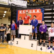 Weight class 152 medalists: 1st Place - Christopher Ball of Hoisington, 2nd Place - Trenton Wright of Norton Community, 3rd Place - Wyatt Murphy of Oakley, 4th Place - Rudy Rodriguez of Gypsum-SE Of Saline, 5th Place - Austin Dale of Russell, 6th Place - Reece Williams of Wellsville. The KSHSAA Class 321A State Wrestling Championships were held at Gross Memorial Coliseum on the campus of Fort Hays State University in Hays, Kansas on February 25, 2017. (Photo: Joey Bahr, www.joeybahr.com)