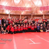 The competitors gather for a group photo prior to the start of the meet. The first ever Kansas High School Girls Wrestling Championship was held at the Roundhouse at McPherson High School in McPherson, Kansas on February 11, 2017. (Photo: Joey Bahr, www.joeybahr.com)