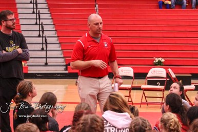 McPherson Wrestling Coach Doug Kretzer talks to the competitors prior to the start of the meet. The first ever Kansas High School Girls Wrestling Championship was held at the Roundhouse at McPherson High School in McPherson, Kansas on February 11, 2017. (Photo: Joey Bahr, www.joeybahr.com)