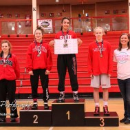 Weight Class 106 placers: 1st Place - Anayka Besco of Rose Hill, 2nd Place - Amanda Newcomb of Osawatomie, 3rd Place - Cassidy Anderson of Caney Valley, 4th Place - Bailey Boyett of McPherson. The first ever Kansas High School Girls Wrestling Championship was held at the Roundhouse at McPherson High School in McPherson, Kansas on February 11, 2017. (Photo: Joey Bahr, www.joeybahr.com)