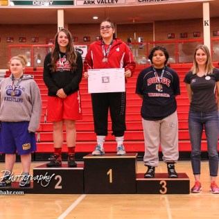 Weight class 170-182 finishers: 1st Place - Marissa Patterson of Shawnee Heights, 2nd Place - Emma Sanborn of Tonganoxie, 3rd Place - Jasmin Avila of Dodge City, 4th Place - Miranda Secrest of Towanda-Circle. The first ever Kansas High School Girls Wrestling Championship was held at the Roundhouse at McPherson High School in McPherson, Kansas on February 11, 2017. (Photo: Joey Bahr, www.joeybahr.com)