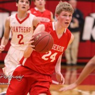 McPherson Bullpup #24 Ben Pyle drives to the basket. The McPherson Bullpups defeated the Great Bend Panthers with a score of 57 to 30 at the Great Bend High School Fieldhouse in Great Bend, Kansas on February 7, 2017. (Photo: Joey Bahr, www.joeybahr.com)