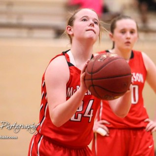 McPherson Lady Bullpup #24 Riley Hett shoots a free throw attempt. The McPherson Lady Bullpups defeated the Great Bend Lady Panthers with a score of 69 to 38 at the Great Bend High School Fieldhouse in Great Bend, Kansas on February 7, 2017. (Photo: Joey Bahr, www.joeybahr.com)